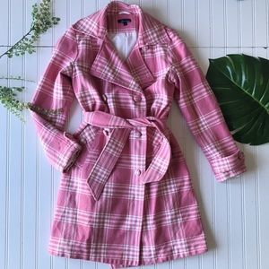 Plaid pink white double breasted tie waist coat